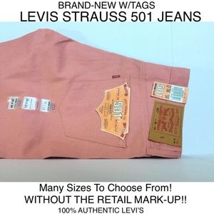 NWT MENS LEVI STRAUSS 501 DENIM PINK JEANS:40x30